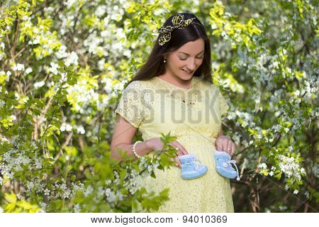 Dreamy Beautiful Pregnant Woman In Blooming Cherry Garden