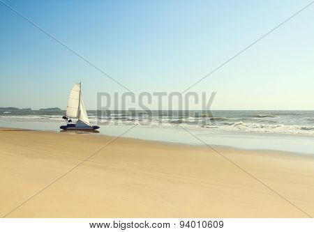 Boat on a deserted beach