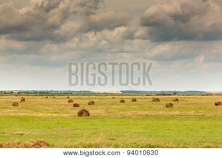Landscape with bale of straw