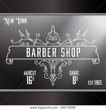 Vintage barber shop window advertising template.