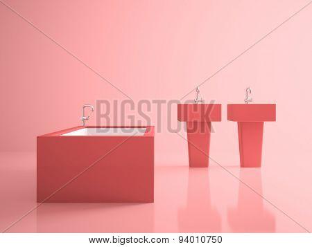 Interior of the conceptual pink bathroom 3D rendering