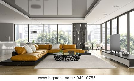 Interior of modern design loft with orange sofa 3D rendering