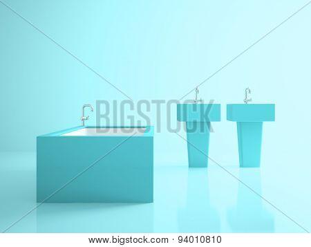 Interior of the conceptual blue bathroom 3D rendering