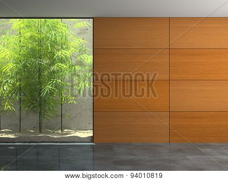 Empty room with wooden panel walls 3D rendering