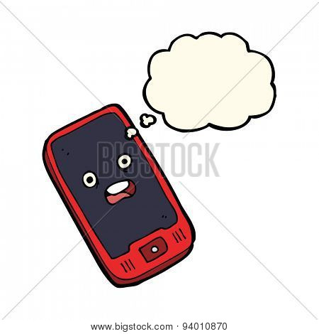 cartoon mobile phone with thought bubble