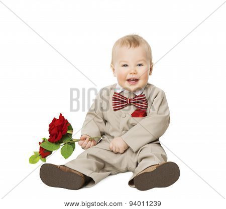 Baby Boy Flower, Kid Well Dressed In Suit, One Year Child With Rose Sitting Over White