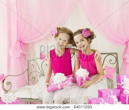Girls Birthday, Little Kids In Retro Pink Dress With Present Gift Box, Children Artists