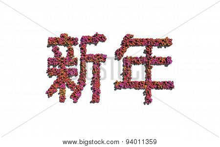 New Year Chinese Text Flower With White Background