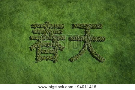 Spring Chinese Text Tree With Grass Background