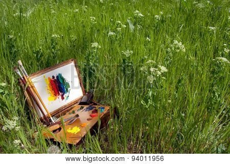 Painter's Case On The Grass