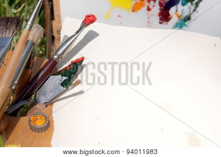 Piece Of Paper And Painting Instruments