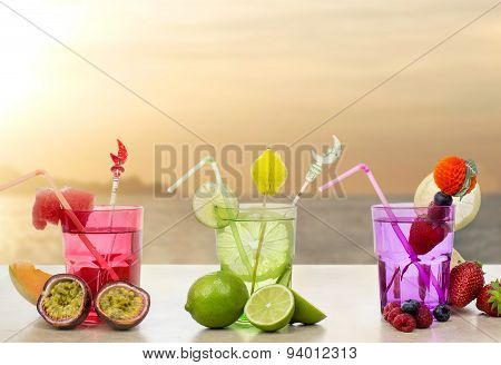 Iced Fruits Cocktail Over Relaxing Seascape