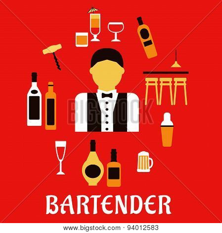 Bartender with cocktails. Profession flat concept