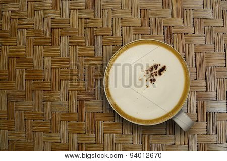 Cappuccino Coffee On Met Asian Ancient Style