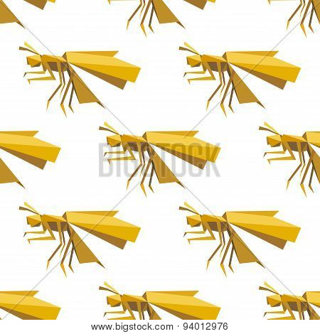 Yellow dragonfly seamless pattern in origami style