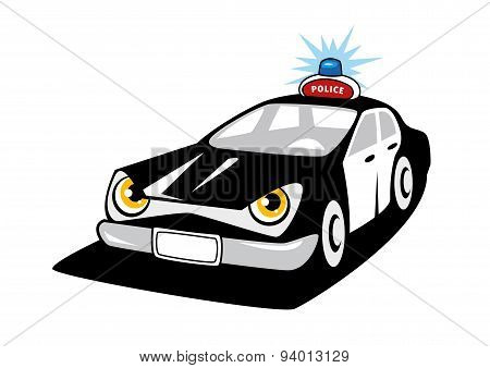 Police car cartoon character with flashing siren