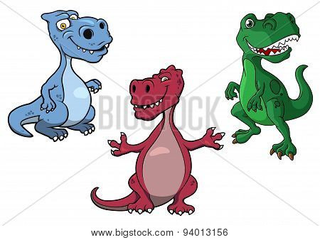 Cartoon blue, green and purple t-rex dinosaurs