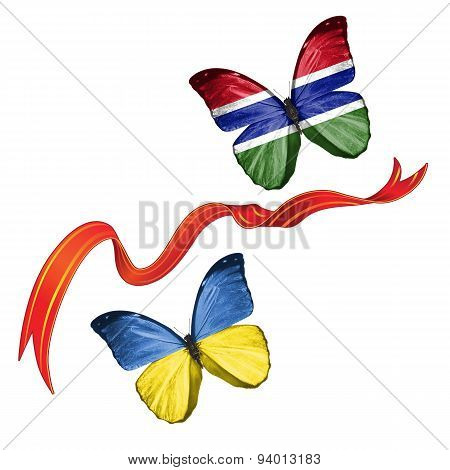 Two butterflies with symbols of Ukraine and Gambia