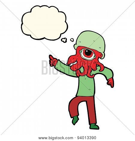 cartoon alien man dancing with thought bubble