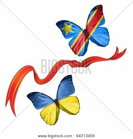 Two butterflies with symbols of Ukraine and DR Congo