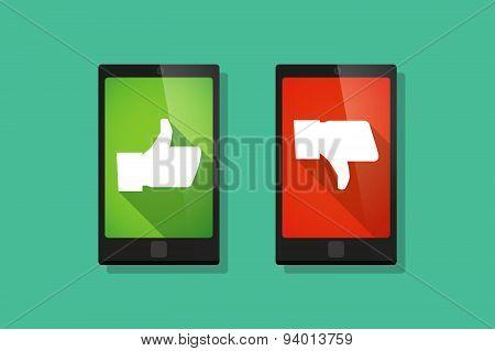 Long Shadow Thumb Hands    Phone Set