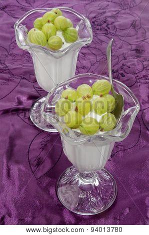 Frozen Yogurt With Gooseberries In A Glass