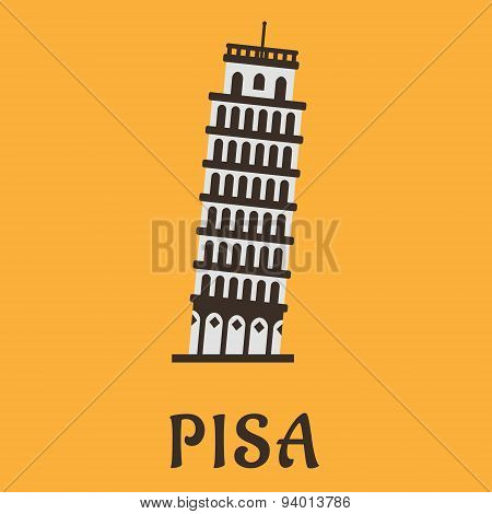 Icon of Pisa Tower in flat style