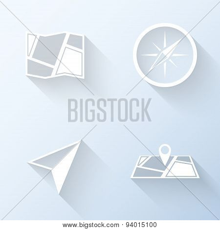 Flat Navigation Icons With Long Shadows. Vector Illustration