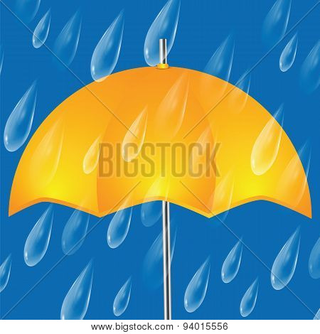 Yellow Umbrella And Raindrops