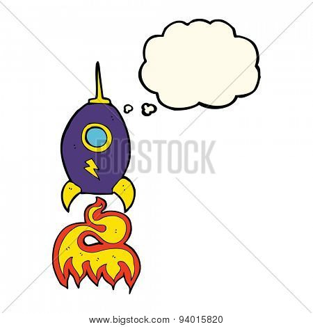 cartoon spaceship with thought bubble