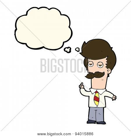 cartoon man with mustache explaining with thought bubble