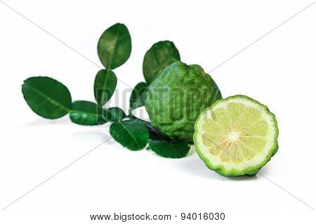 Fresh Kaffir lime and leaf.