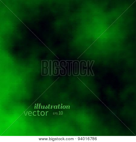 Abstract creen and black clouds or fire flames. Colorful vector background