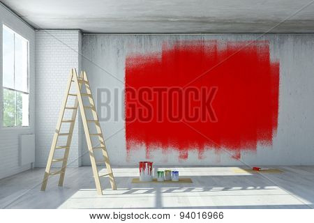 Red paint on concrete wall during renovation in office room (3D Rendering)