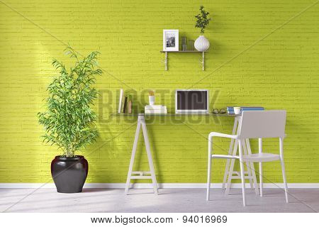 Home office with laptop computer on a desk in front of a wall (3D Rendering)