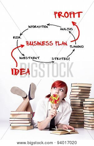 Young Girl Make A Business Plan