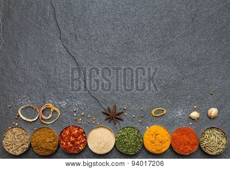 Mixed Spices And Herbs.food And Cuisine Ingredients.