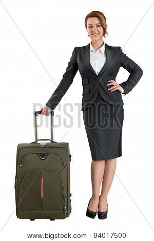 Business Woman Standing With Travel Suitcase