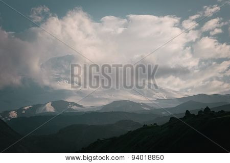 Mountain Landscape With Clouds. Elbrus Top.