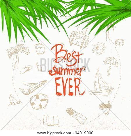 Vector summer doodle with lettering and palm leaves. EPS10
