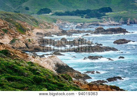 View Of The Rocky Pacific Coast At Garrapata State Park, California.