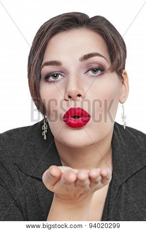 Beautiful Plus Size Woman Sending Kiss Isolated