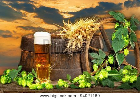 Beer Glass With Barley And Hop Cones