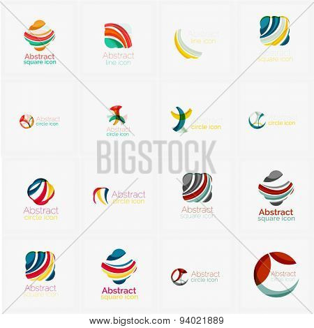 Set of swirl, wave lines, circle logo icons. Business emblems. Isolated on white. Universal for any idea or brand