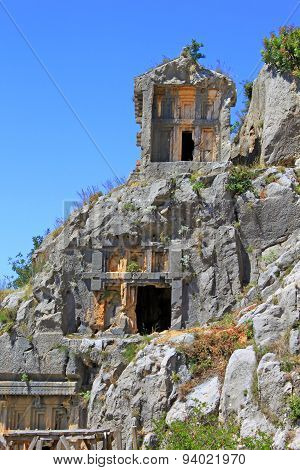Ancient Lycian Tombs In Myra, Turkey