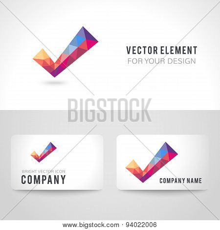 Vector polygonal crystal check mark or tick with shadow