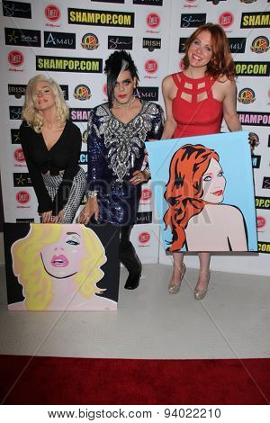 LOS ANGELES - JUN 4:  Courtney Stodden, Sham Ibrahim, Maitland Ward at the Celebrity Selfies Art Show by Sham Ibrahim at the Sweet! Hollywood on June 4, 2015 in Los Angeles, CA