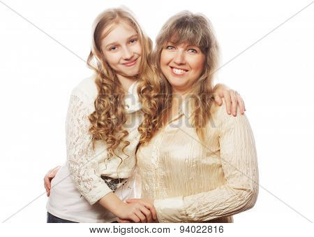 mother and daughter, happy family, isolated on white