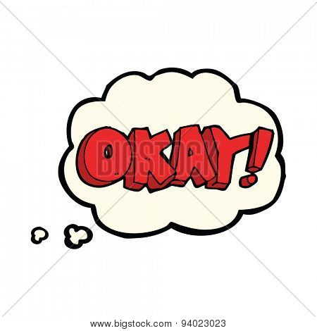 cartoon okay sign with thought bubble