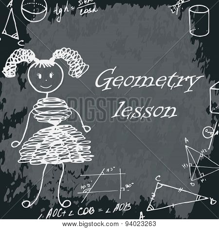 Vector Illustration Of Girl On School Board. Freehand Drawing. Geometry Lesson